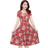 2019 New Women Plus Size 4XL Vintage mini Dress Short Sleeve O Neck Chiffon Dresses Party Casual Elegant Women Dress