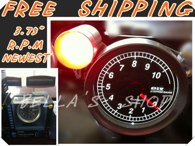 """free shipping brand new piv0t 3.75"""" WHITE LED rpm /tachometer  racing stepping  gauge  with shift light original box"""