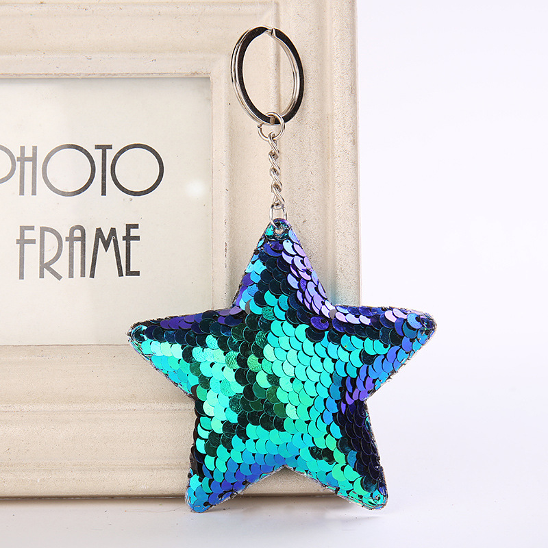 Cute Star Keychain Glitter Pompom Sequins Key Chain Gifts for Women Llaveros Mujer Car Bag Accessories Key Ring Chaveiro все цены