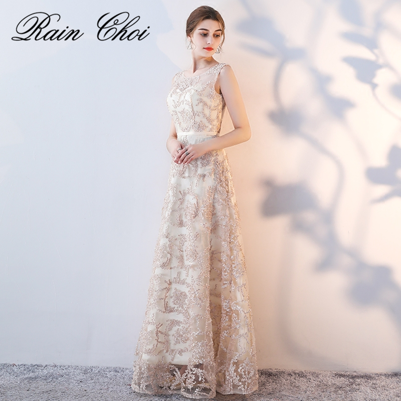Fashion Champagne Embroidery   Bridesmaid     Dresses   Long 2019 Elegant Sheer Neck Wedding Party   Dress   vestido de festa