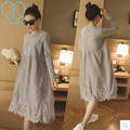 6122# Cotton Lace Organze Maternity Nursing Long Dresses 2016 Spring and Autumn Breastfeeding Clothes for Pregnant Women