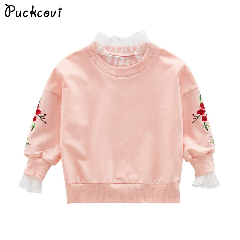 Roupas Infantis Menino Girls t-shirt Kids Clothes 2018 Spring Children T-shirt Embroidery tshirt Girl Frill Long Sleeve Tshirt