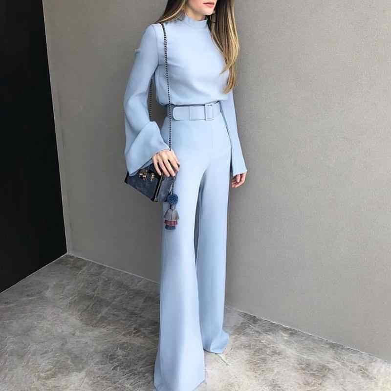 Комбинезон с длинными рукавами для женщин 2018 Bell sleeve широкие брюки  комбинезоны элегантные офисные спецодежды ромпер ffb91e85e7725