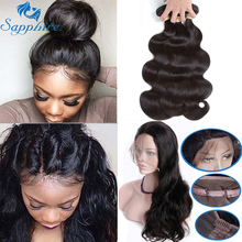 Sapphire Body Wave Human Hair Bundles With 360 Lace Frontal Closure Brazilian Hair Weave Bundles With Closure Hair Extension