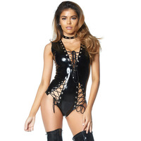 Black Wetlook Leather Catsuits Women Sleeveless V Neck Cut Out Lace Up Bandage Bodysuit Sexy See Through Fetish Lingerie Catsuit