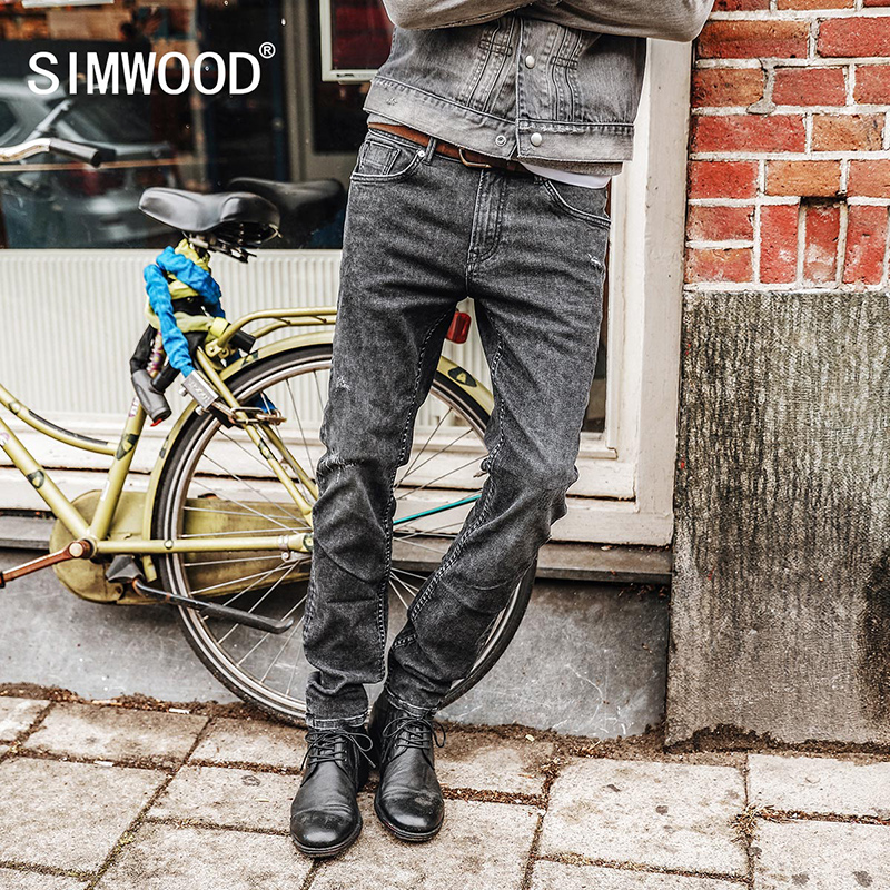SIMWOOD 2019 Men   Jeans   New Fashion Men Casual   Jeans   Slim Straight   Jeans   Plus Size Long Trousers Hot Sale High Quality NC017026
