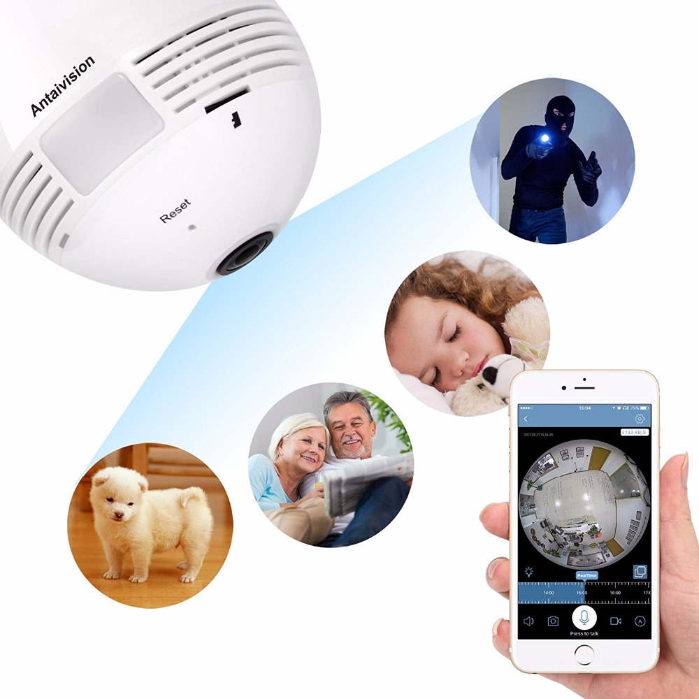 VOGROUND Hot Sale Panoramic Camera 1.3MP Home Security VR Camera Wireless Bulb 960P Wifi 360 degree IP Light Camera