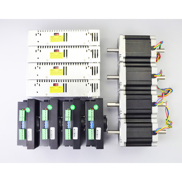 цена на 4 Axis CNC Kit 8.5Nm(1204oz.in) Nema 34 Stepper Motor & Max 80VAC or 110VDC Driver & Switching Power Supply CNC Router