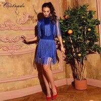 Ocstrade New Arrival Women Sexy Bandage Dress 2018 High Quality Blue Tassel Bandage Rayon Dress Black