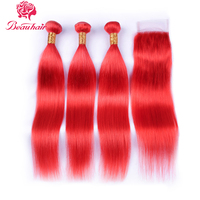 Beauhair Brazilian Straight hair Red color 3 Bundles with 4*4 closure human hair weaves Remy Hair