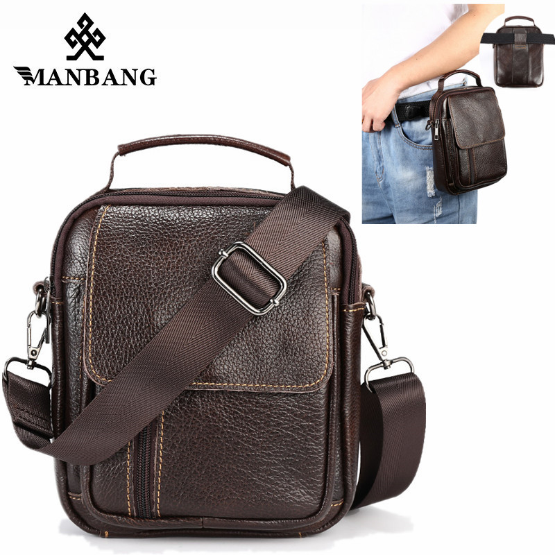 ManBang New Genuine Leather Men Crossbody Bags Small Flap Messenger Bags Vintage Casual Bag Men's Shoulder Handbags briefcase tianhoo genuine leather men bags flap messenger bag men s small briefcase man casual crossbody bags shoulder handbags
