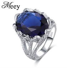 Best-selling Jewelry Standard 925 Silver Lady Classic Ring High-quality Fashion Blue Gem Anniversary Gift Ball Party