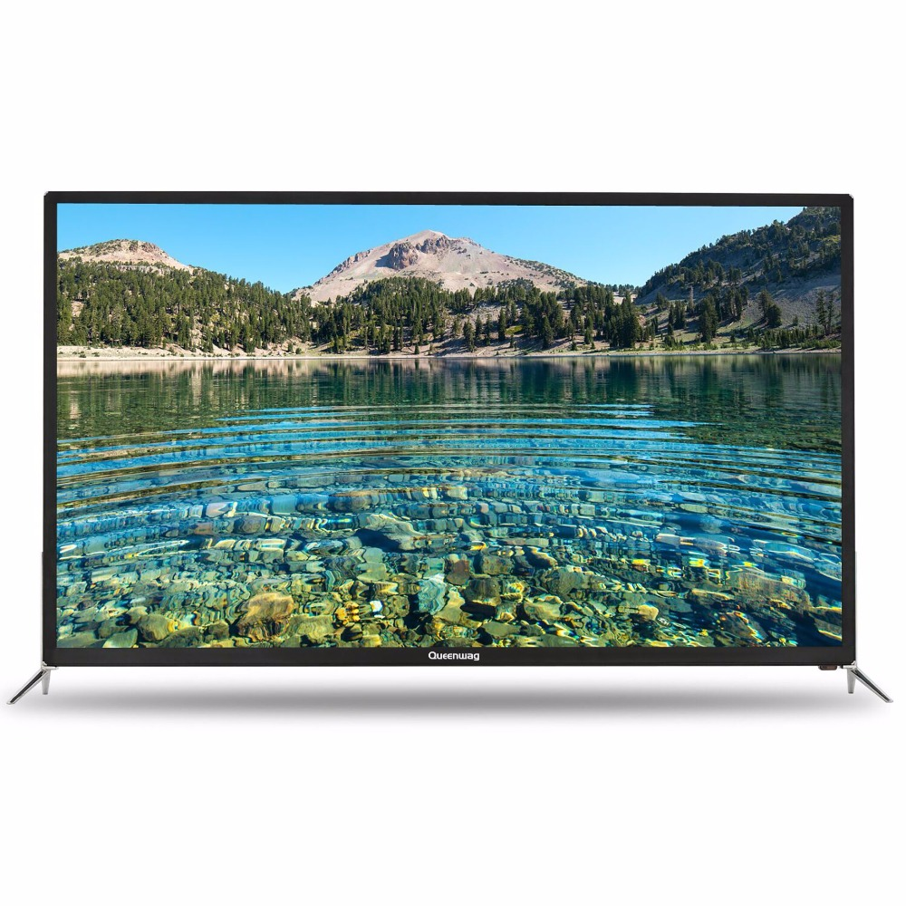 Queeenway Smart 4 k HD TV Android 55 pouce TV 16:9 Plein Fer Cas 3840*2160 WiFi USB Anglais russe Espagnol Chinois 110 v ~ 240 v