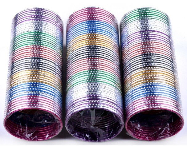 Bracelets de danse indienne en aluminium, 100 pièces, mélange de Lots, bijoux à la mode, pour la danse africaine et latine