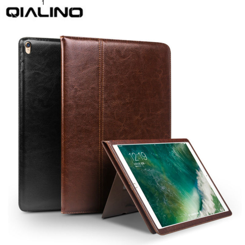 For iPad pro 10.5 2017 Tablet Case Genuine Leather Flip Stents Dormancy Stand Cover for Funda iPad Pro 10.5 Wallet Cases Qialino case for ipad pro 10 5 ultra retro pu leather tablet sleeve pouch bag cover for ipad 10 5 inch a1701 a1709 funda tablet case