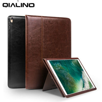 For iPad pro 10.5 Tablet Case Genuine Leather Flip Stents Dormancy Stand Cover for Funda iPad air 3 10.5'' Wallet Cases Qialino