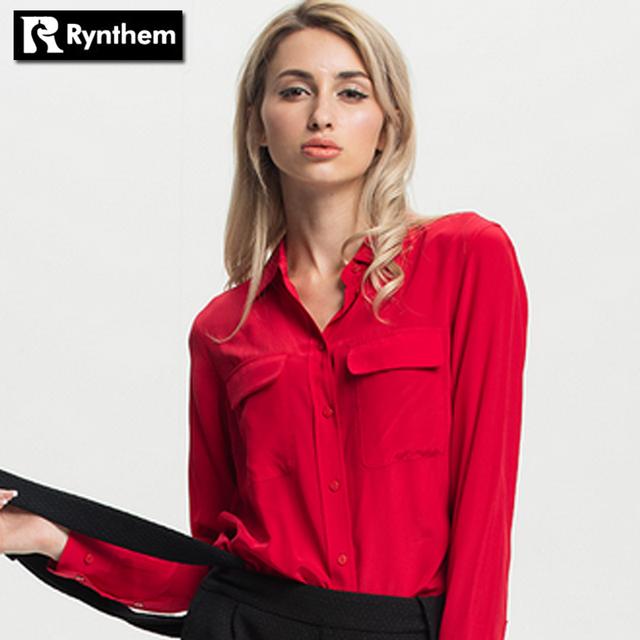 Highest Quality Silk  Elegant Ladies Casual Blouse Shirt Pockets Long Sleeve Shirts Solid Turn-down Collar