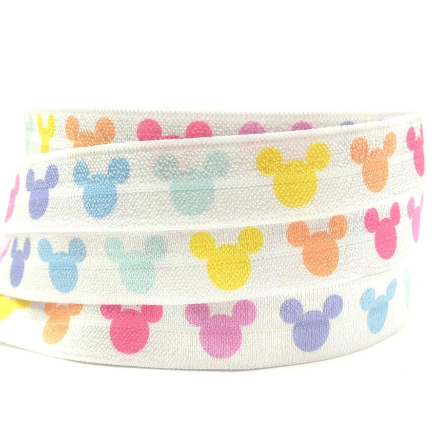 5Yards 16mm Colorful Head Printed Fold over elastic FOE Spandex Band Kids Hairband Headband Dress Lace Trim DIY Sewing Crafts