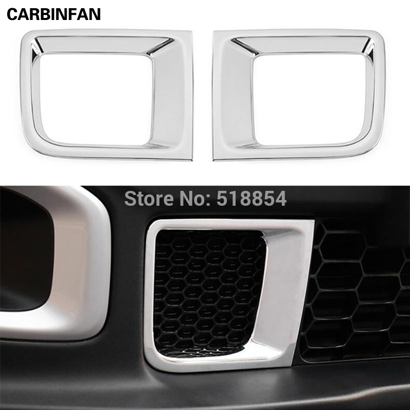 FIT FOR 2015 2016 JEEP RENEGADE CHROME FRONT BUMPER GRILL AIR VENT OUTLET COVER TRIM BEZEL GARNISH MOLDING STYLING FRAME OVERLAY