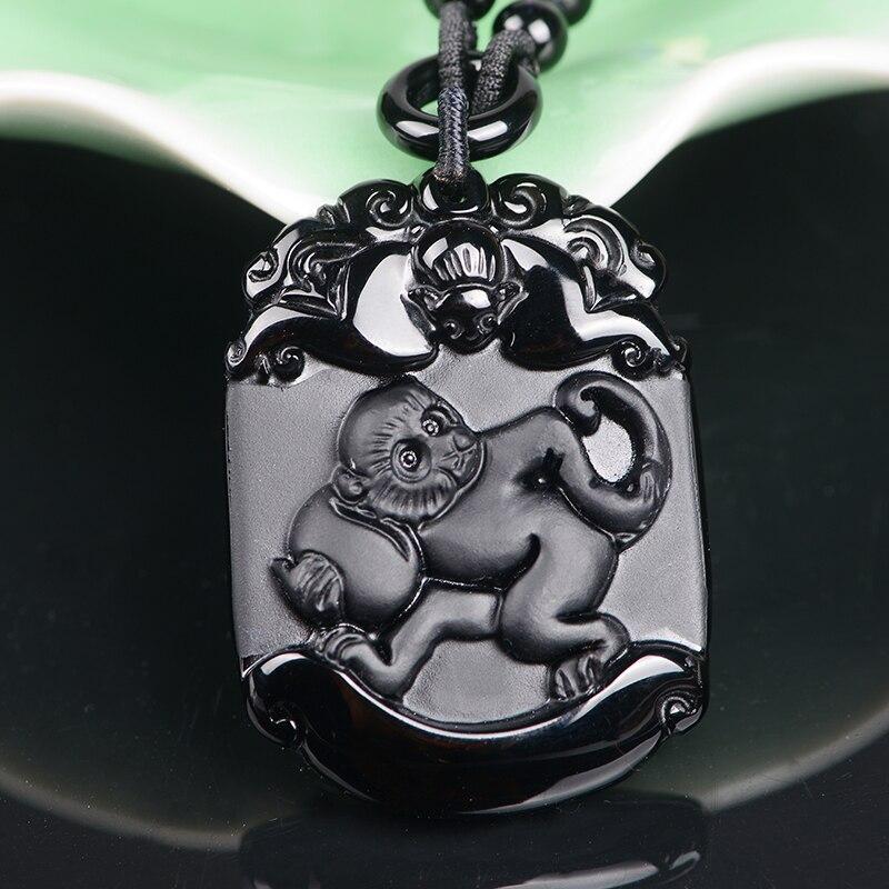Belwide Zodiac Monkey Natural Black Obsidian Zodiac Monkey Pendant Necklace 2016 Zodiac monkey monkey auspicious фото
