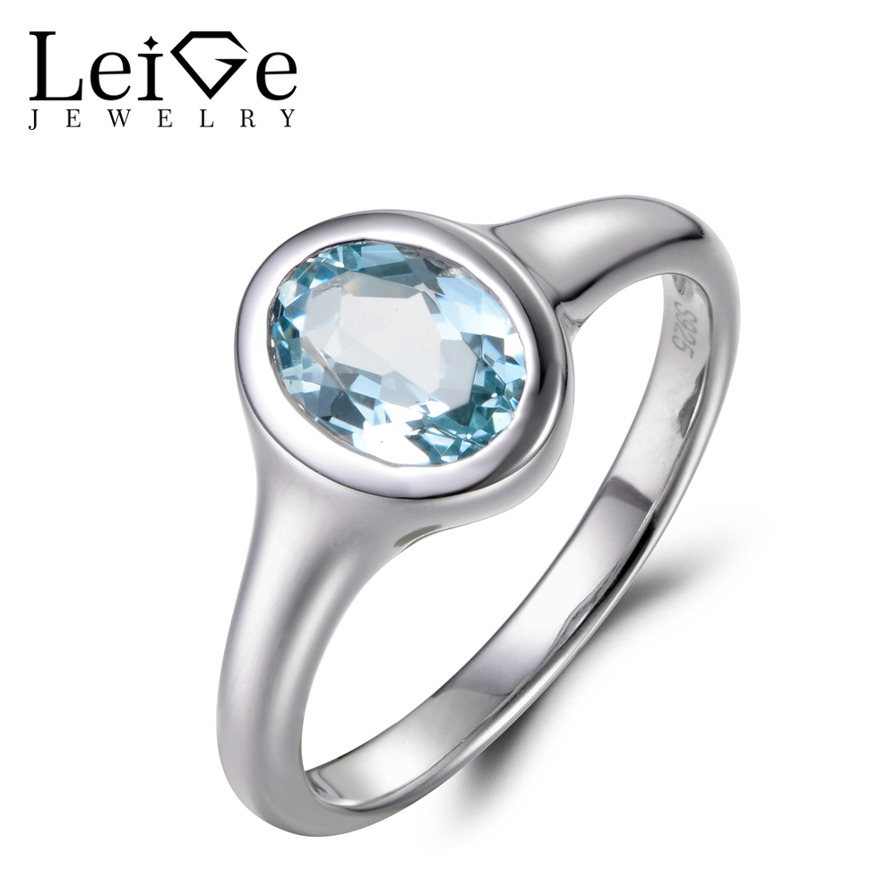 natural aquamarine ring oval cut gemstone ring March birthstone ring promise sterling silver bezel setting rings blue gemstone rings