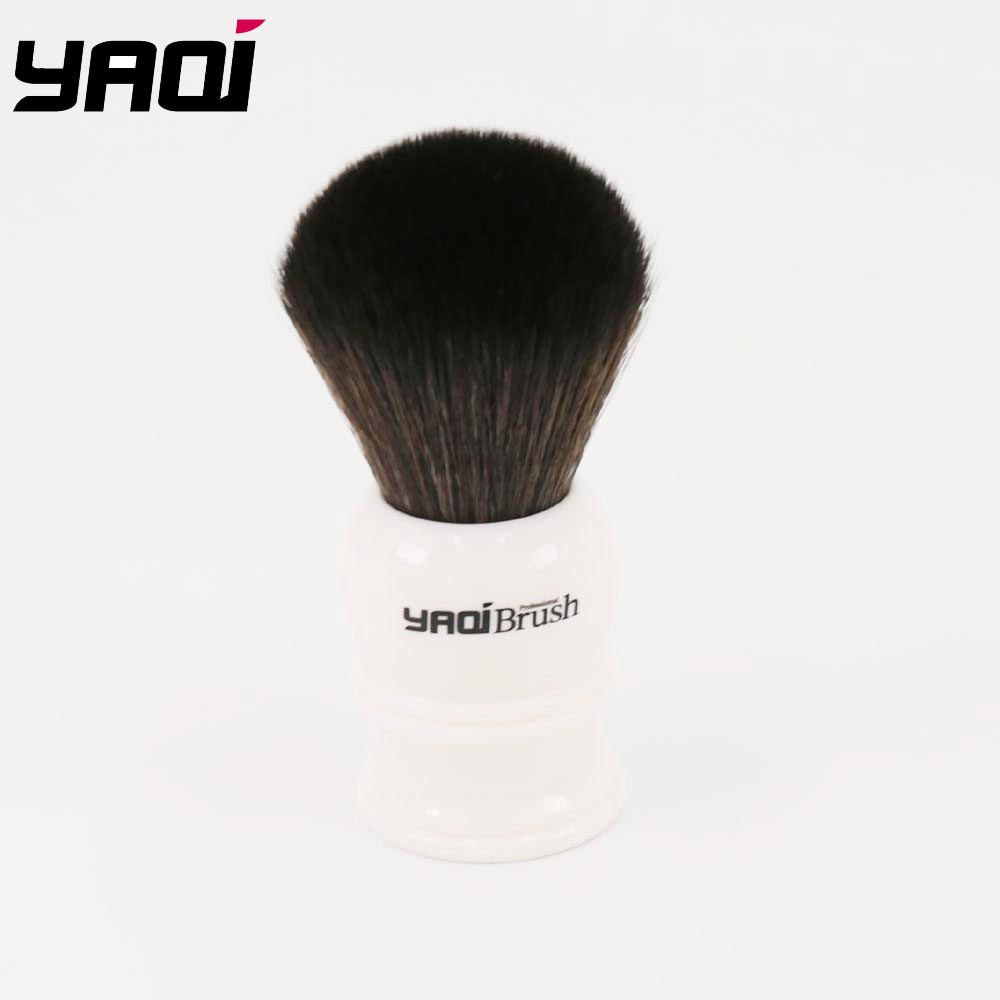 Yaqi 24mm Size Knot White Handle Black Synthetic Hair Shave Brush
