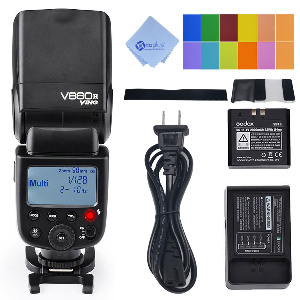 Godox V860N I-TTL 1/8000S Li-ion Speedlite with 2000mAh Battery Camera Flash for Nikon D7000 D90 godox ving 2x v860n v860 i ttl hss master li ion flash speedlite ft 16s trigger speedlite 1 8000s for nikon d800 d90 d600 d7000