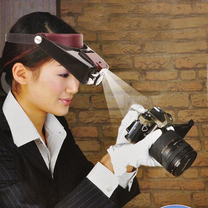 Hotsale microscopio estilo casco lupa Lupas Con Luz LED luces de lectura o uso de reparación