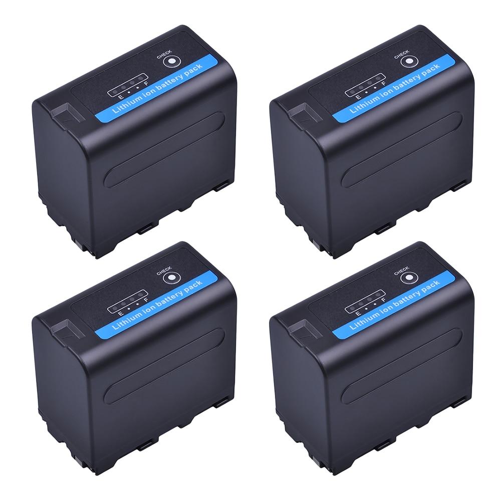 4Pcs 7.2V 7200mAh NP F960 F970 Camera Li-ion Battery With LED Power Indicator For Sony NP-F550 NP-F770 NP-F750 F960 F970 Accu