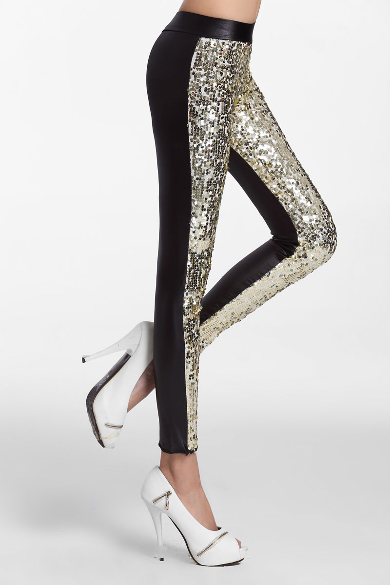 91164e695c6 Golden Sequin Front PU Leggings etallic Shinning Full Sequined Pants Slim  Skinny Pencil Pants 2017 hot women s party pant-in Pants   Capris from  Women s ...