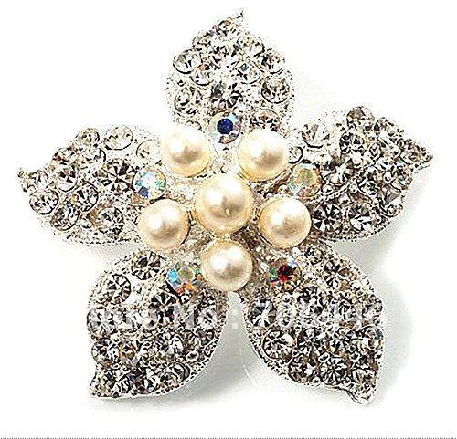 Красивый посеребренный Украшенные стразами и Крем pearl корсаж букет, цветок, брошь на шпильке, для свадьбы