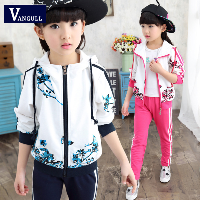 2016 new Girls long sleeve Kids Girls sport suit spring Korean children two piece 3 colors printing 2 pieces set spring new kids girls spring dress embroidered two piece suit