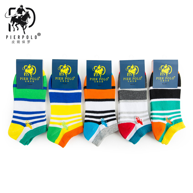 2017 Hot Sale Mens Socks Calcetines Hombre New Spring And Summer Pier Polo Men Socks Stripes Boat Cotton Mens Wholesale