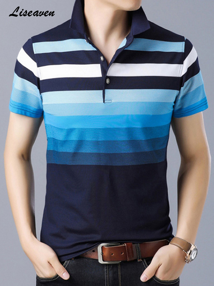 Liseaven Men's   Polo   Shirt Cotton Poloshirt Short Sleeve   Polo   Shirts Striped   Polos   Casual Shirts Men Camisas