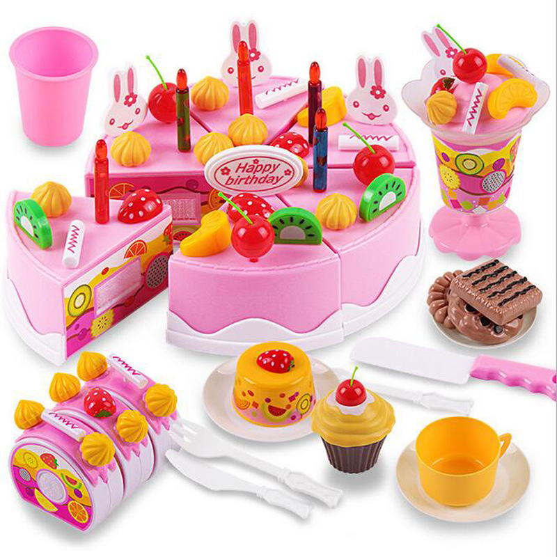 75Pcs/Set New Children Toys Pretend Role Play Kitchen Toy Happy Birthday Cake Food Cutting Set Kids