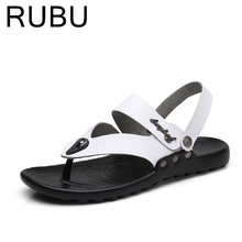 Genuine Leather Slippers Men Breathable Outdoor Slippers Summer Man Flats Wearable Comfortable men's Shoes /03