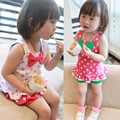 New children clothing set 2016 summer baby girls 2pcs suit sleeveless  point print bow t-shirt + shorts toddler girl clothing