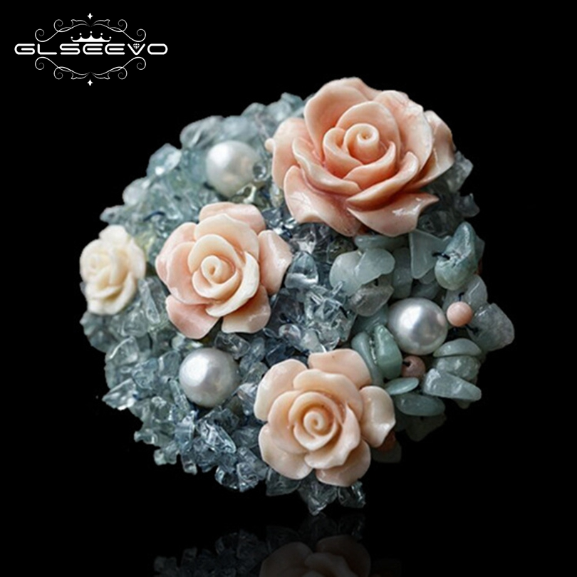 GLSEEVO Handmade Luxury Coral Flower Natural Aquamarine Blue Stone Brooch Pins Pendant Dual Use For Women Fine Jewelry GO0037 все цены