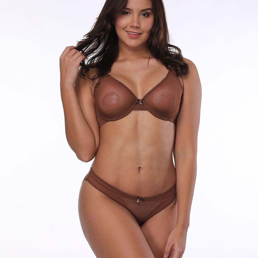 Transparent Mesh Sexy   Bras   Panties Sales Separated Women Lingerie Lace Bralette   set   Big Plus Size B C D E F 75 80 85 90 95 100