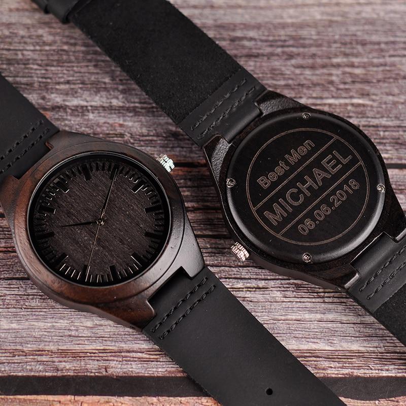 Relogio masculino Gravierte Holz Uhren Groomsmen Personalisierte Uhr vaters Geschenk Jahrestag Geschenk für Männer erkek kol saati