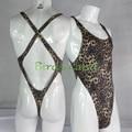 Mens Body Tanga Elástico Corte Alto X Cruzar de Nuevo estampado de Leopardo de terciopelo G728CD