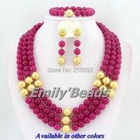 2014 New Fashion African Beads Jewelry Sets Fuchsia Nigerian Wedding Beads Necklaces Jewelry Set Free Shipping