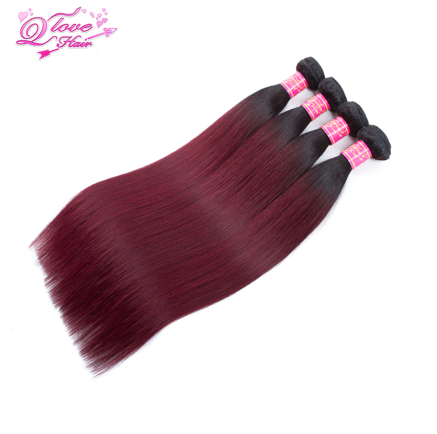 Queen Love Hair Pre-Colored Peruvian Hair Weave Bundles Straight Wave Human Hair 4 Bundles 1B/99J Hair Extensions Non Remy