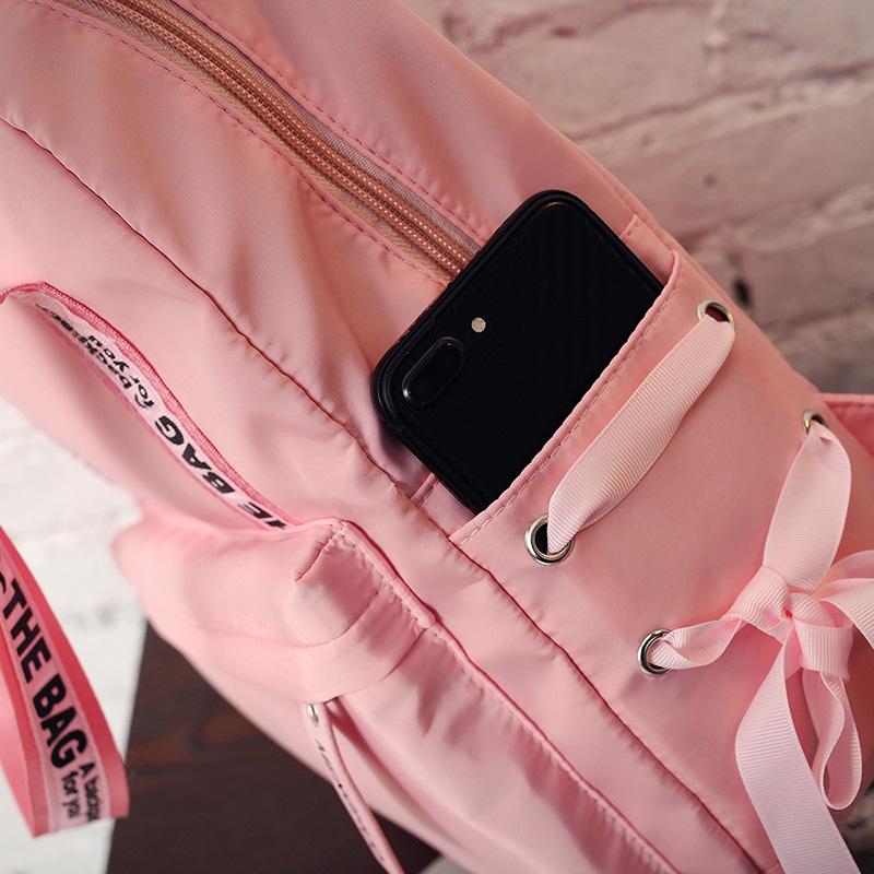 Menghuo Large Capacity Backpack Women Preppy School Bags For Teenagers Female Nylon Travel Bags Girls Bowknot Backpack Mochilas (47)