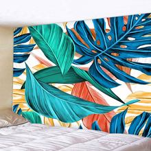 Plant Leaf Print  Mandala Tapestry Psychedelic Wall Hanging Bohemian Tapisserie Murale Indian Floral Carpet Beach Towel