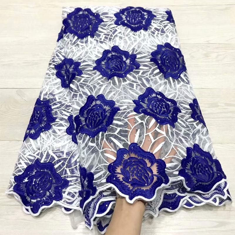 2019 Latest African Laces Fabrics Embroidered African Guipure French Lace Fabric With Rhinestones African French Net