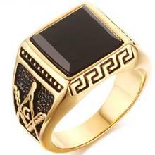 Нержавеющая сталь 316L Моды агат кольцо масоном кольцо для мужчин trandy позолота Масонских ювелирных изделий