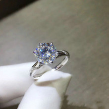 925 Sterling Silver Platinum Plated Rings 0.5-2ct Carat Moissanite Engagement for Women Wedding Jewelry with Certificate
