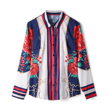 quality New 2018 Designer Runway Shirt Women's Long Sleeve Printed Casual Blouse Ethnic Shirt OL office