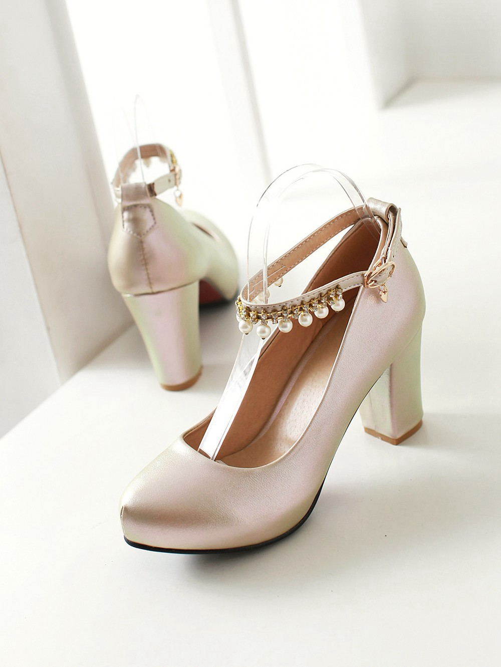 2017 Chunky High Heeled Pink Bridal Wedding Shoes Beaded White Female Buckle Elegant Pumps Silver Gold43